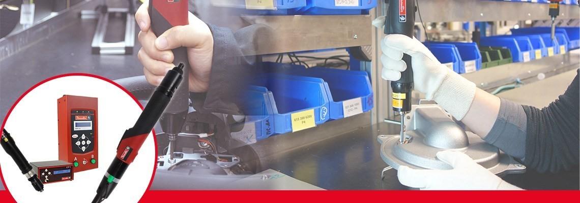 Titta närmare på Desoutter Industrial Tools sortiment av elektriska skruvdragare. Kraftfulla och enkla att använda. Kontakta oss för mer information om SLK:s elektriska skruvdragare och SLE:s elektriska skruvdragare med hög effekt.