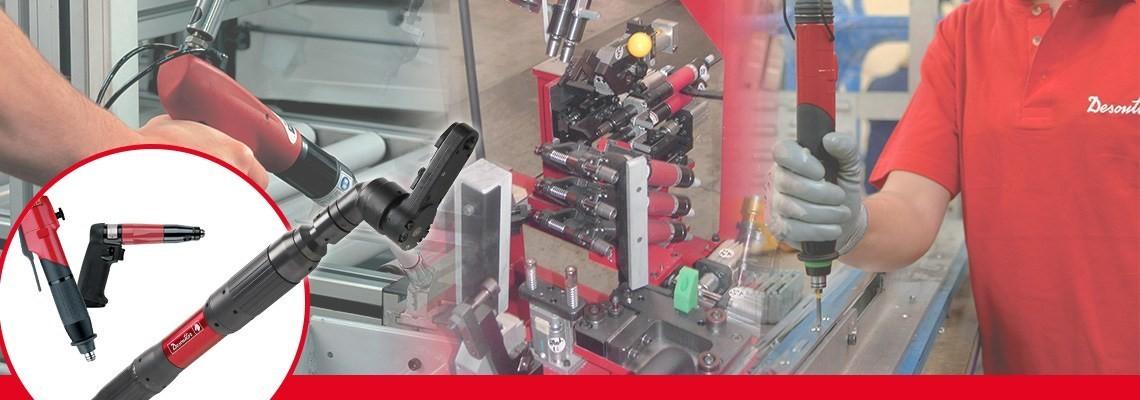 Tryckluftsdriven skruvdragare med avstängning. FAS är ett sortiment av fästdonssäkringssystem som möjliggör snabb och automatisk kalibrering med monteringsstyrsystem.